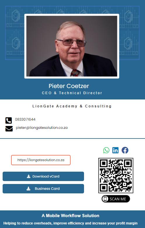 Pieter Coetzer Business Card